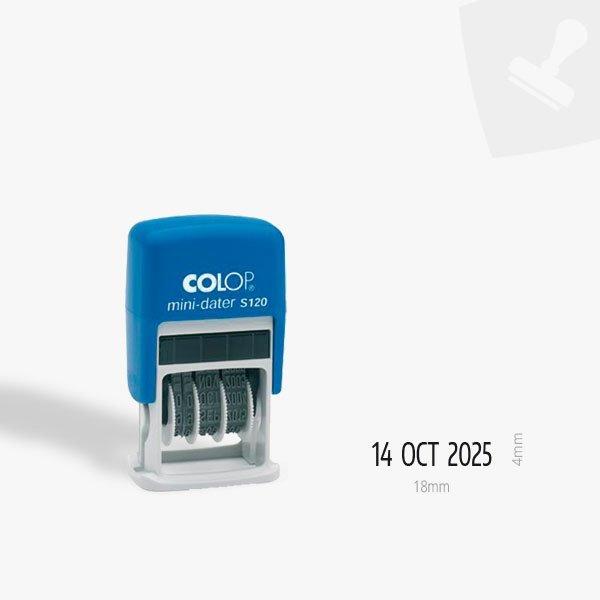 Mini segell automàtic datador. Mostra marca.